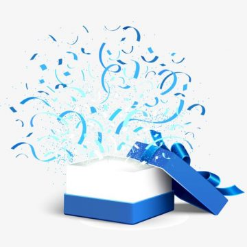 Blue Gift Box - Exploding streamers